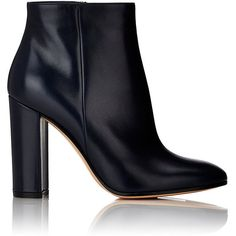 Gianvito Rossi Leather Side-Zip Ankle Boots ($975) ❤ liked on Polyvore featuring shoes, boots, ankle booties, ankle boots, heels, blue, heeled booties, short leather boots, chunky heel bootie and leather ankle boots