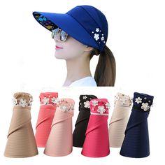 19055de7 2018 New UV Protection Women Summer Beach Sun Hats flower faux Pearl decos Sun  Visor Hat With Big Heads Wide Brim Female Cap [orc32911374375] - $19.83 :  ...