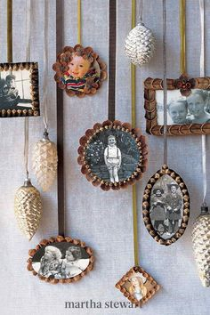 Decorate your Christmas tree and around your home with these festive pinecone ornaments that are an easy, kid-friendly holiday craft. Follow our step-by-step tutorial for these beautiful handmade ornaments that make great keepsakes or holiday gifts with cherished family photos in pinecone frames. #marthastewart #christmas #christmastree #holidaydecor Noel Christmas, All Things Christmas, Vintage Christmas, Xmas, Woodland Christmas, Christmas Pictures, Christmas Colors, Santa Pictures, Creepy Pictures