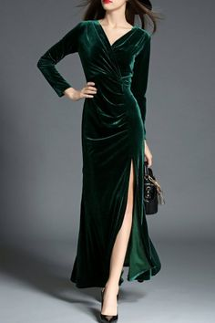 She's Blackish Green Ruched High Slit Evening Dress | Evening Dresses at DEZZAL