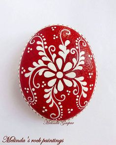 "Red&White painted stone ""Red&White painted stone *Change to black & white"", ""Hand painted rock with spring flowers and blue butterfly. Its a Great Gift Pebble Painting, Dot Painting, Pebble Art, Stone Painting, Painting Stencils, Painting Flowers, Stone Crafts, Rock Crafts, Arts And Crafts"