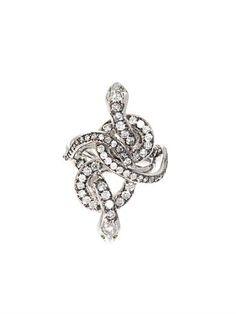 Grey diamond, tsavorite and gold poison snake ring by Ileana Makri
