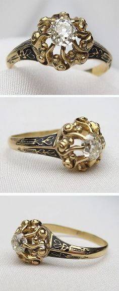 A truly unique ring. Circa 1880. This lovely Victorian ring features a sparkling diamond cradled in a beautiful 18KT gold setting, accented with enamel.
