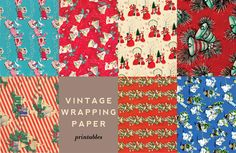Vintage Christmas wrapping paper to print in miniaturized version