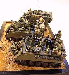 M113装甲兵員輸送車とM577コマンドポストです。 コマンドポストは移動指揮車。 兵員輸送車は11名乗れる。(でもフィギュアがそんなに用意できない) タミヤからは通常のM113、ACAV、コマンドポスト、オーストラリア軍のファイヤーサポート、A2デザートワゴンの5種類が出て...