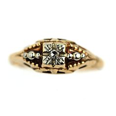 Art Deco Engagement Ring 1930s Antique Ring 14K por ArtDecoDiamonds