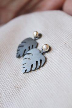 Leaf earrings ear jacket leaf studs delicious monster necklace | Etsy Ear Jacket, Leaf Earrings, Silver Necklaces, Studs, Handmade Jewelry, Delicate, Pendants, Jewels, Gemstones