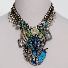 Turquoise Rhinestone and Pearl Statement Necklace