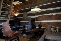 John-Paul Philippe turns neglected Connecticut barn into his home and studio Electric Baseboard Heaters, Barn Style Doors, Log Cabin Homes, Wooden Decks, Cabins And Cottages, Living In New York, Tiny Living, Living Area, Rustic Interiors