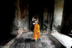 Lonely Monk in Angkor Wat, Cambodia