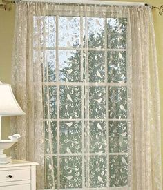 Bird Song Lace Rod Pocket Panel by Country Curtains - Pinned from iCatalog™