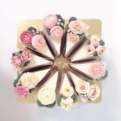 Blume Buttercremetorte – – # # Sahnetorte … – K… - Cake Decorating Simple Ideen Fancy Cakes, Cute Cakes, Pretty Cakes, Buttercream Flowers, Buttercream Cake, Buttercream Ideas, Icing Flowers, Cake Flowers, Flower Cakes