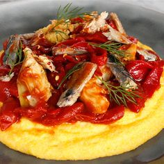 Try this Soft Polenta with Sardines in a Rich Sauce recipe by Chef Sara Oteri. Sauce Recipes, Fish Recipes, Sardine Recipes, Cereal Recipes, Grits, Polenta, Recipe Of The Day, Main Meals, Bon Appetit