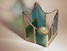 Stained glass votive / candle holder
