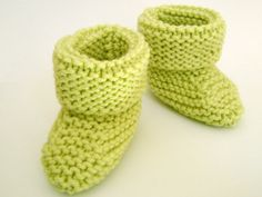 Knit Baby Booties in Light Green/Cuffed by MagnoliaBelleRoswell, $12.00