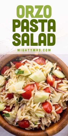 This Orzo Pasta Salad recipe is easy to make yet packs a ton of Mediterranean flavor. Made with orzo pasta, mint, basil, a lemon and red wine vinaigrette dressing, fresh tomatoes and cucumbers, red onion and a touch of honey. A perfect summer side dish with dinner or for potlucks, barbecues and cookouts. Boil the orzo with chicken (or vegetable broth for vegetarians) for added flavor. You'll love this fresh Mediterranean pasta salad (without olives). Great for lunches too! Pasta Dinner Recipes, Orzo Recipes, Quick Healthy Lunch, Healthy Salads, Vegetarian Salad Recipes, Lunch Recipes, Salad Dressing Recipes, Vinaigrette Dressing, Summer Side Dishes