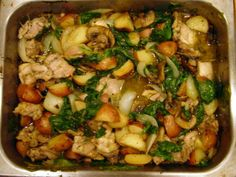 This was a hit.  Only one pan to wash with this wonderful casserole type dish which combines potatoes, rosemary, onions and garlic with quartered boneless chicken thighs and fresh spinach.