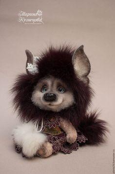 Купить Шуршуля Мушка - бордовый, фантазийный, зверек, друзья мишек тедди, друзья тедди