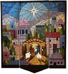 CHRISTMAS STAINED GLASS PANELS