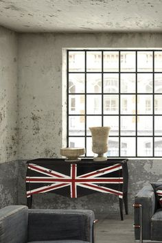 Zuo Era  Union Jack Large Cabinet.... this is a cute idea for someone who is refurbishing their furniture with a London theme.  Easy wknd project.