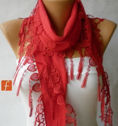 Red Scarf   Pashmina Scarf   Cowl Scarf with Lace Edge by fatwoman, $16.00