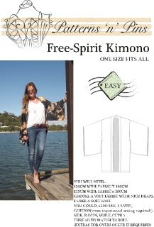 Available Now!  Beautiful Free Spirit Kimono pattern is now available. Make it in soft satin fabric for an evening out or in a soft knit for a winter snuggle that you can layer with tights and scarfs or you can embellish with fringe on the cuffs or hem for boho glam!  Suitable for beginner sewing skills.  Free Spirit Kimono Sewing instructionsFree Spirit Kimono Cutting Instructions