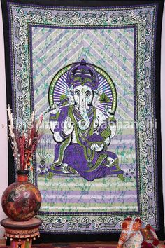 Twin Indian Lord Ganesh Bedcover Indian Tapestry by Labhanshi