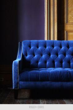 Blue velvet tufted sofa, blue velvet sofa, blue velvet couch, blue velvet couches from Roger and Chris Pictured: Lincoln in blue velvet Blue Velvet Couch, Velvet Tufted Sofa, Blue Sofas, Velvet Chairs, Custom Sofa, Custom Furniture, Quality Furniture, Dark Purple Walls, Mid Century Sofa