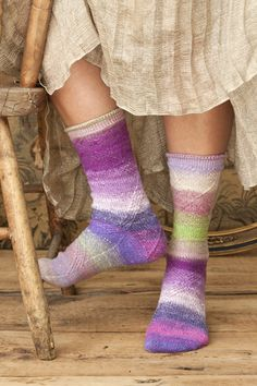 Awesome Cabled Socks by Christina Behnke. They are worked toe up using Noro Taiyo Sock yarn. I'm a bit of a sock junky anyway, but these just sing to me.