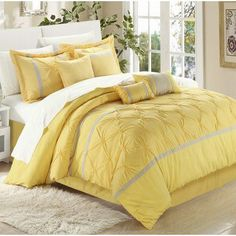 Willa Arlo Interiors Arne 12 Piece Bed In a Bag Set Color: Yellow/Gray, Size: King