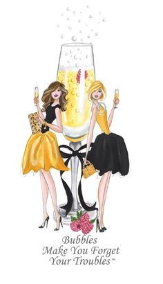 Las burbujas hacen que te olvides de tus problemas. The bubbles make you forget about your Bff Abbildungen, Happy Weekend, Happy Friday, Birthday Greetings, Birthday Wishes, Champagne Quotes, Illustrator, Champagne Party, Foto Fashion