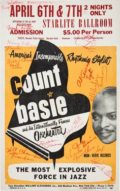 Music Memorabilia:Autographs and Signed Items, Jazz - Count Basie Autographed Concert Poster (circa Jazz Poster, Blue Poster, Gig Poster, Poster Prints, Art Print, Vintage Concert Posters, Retro Posters, Big Band Jazz, Jazz Concert