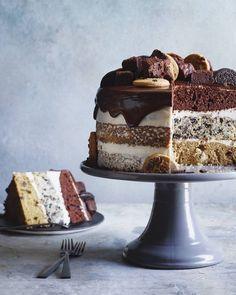 Slutty Brownie Cake from www.whatsgabycooking.com the cake to end ALL CAKES!! (@whatsgabycookin) layers of chocolate chip cookie cake, oreo cake, chocolate cake and a chocolate ganache on top! Boom!