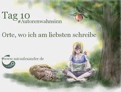 Tag 10 - Orte, an denen ich am liebsten schreibe von Mira Alexander, http://www.miraalexander.de . Digitale Zeichnung stellt eine Frau im Schneidersitz, mit einem Laptop auf dem Schoß, die im Garten sitzt. Neben ihr liegt ein Hund.