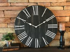 Enrich Your Room with an Oversize Clock Big Wall Clocks, Rustic Wall Clocks, Wooden Clock, Rustic Walls, Black Clocks, Farmhouse Clocks, Farmhouse Style, Oversized Clocks, How To Make Wall Clock