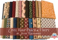 """Civil War Peace & Unity by Judie Rothermel, great reproduction fabrics for your historical quilter!"""
