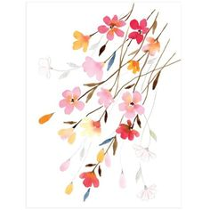 """""""Blossoming"""" - Painting Limited Edition Art Print by Stephanie Ryan. (325 ILS) ❤ liked on Polyvore featuring home, home decor, wall art, modern home decor, modern wedding invitations, blossom painting, flower wedding invitations and modern flower paintings"""