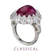 2012 AGTA Spectrum Award Winner: Classical - 1st Place:  James W. Currens  J.W. Currens, Inc.  New York, NY  Platinum ring featuring a 14.25 ct. unheated Ruby cabochon accented with Diamonds (7.97 ctw.).