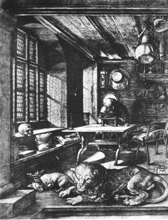 Albrecht Durer- St. Jerome in his Study 1514- Etching and is very detailed. Northern Renaissance artist that traveled to Italy.