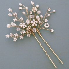 Shimmering Blossom Hairpin designed by Twigs & Honey. A delicate burst of tiny flowers and sprigs to scatter through the hair. Shimmering Blossom Hairpin designed by Twigs & Honey. A delicate burst of tiny flowers and sprigs to scatter through the hair. Hair Jewelry, Bridal Jewelry, Wedding Hair Pins, Wedding Updo, Tiny Flowers, Hair Beads, Hair Ornaments, Wedding Hair Accessories, Jewelry Accessories