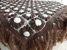 Vintage Shawl Crochet Brown Scarf Shoulder by VintagePearlHunt