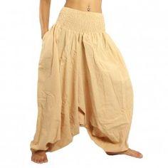 pantalones de harén de algodón de color beige