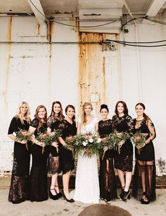 boho black mismatched lace bridesmaid dresses / http://www.deerpearlflowers.com/40-chic-bohemian-bridesmaid-dresses-ideas/2/