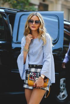 Olivia Palermo embraces the bell sleeve. #refinery29…