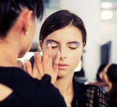 Tom Pecheux for MAC's beauty look backstage at Peter Som Spring 2013