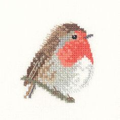 Robin cross-stitch - if I start now I might get it finished for Christmas!= voor Annie- die Houd van Roodbortjes!