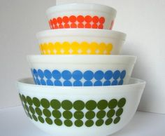 Vintage Pyrex...I have the large green one.  50 cents from the thrift store....score!