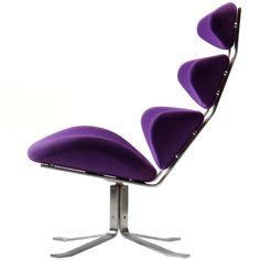 View this item and discover similar for sale at - A unique lounge chair with a satin chrome frame and four attached cushions resembling vertebra in original purple wool upholstery. Purple Furniture, Retro Furniture, Cool Furniture, Furniture Design, Futuristic Furniture, Furniture Chairs, Muebles Art Deco, Purple Chair, Drum