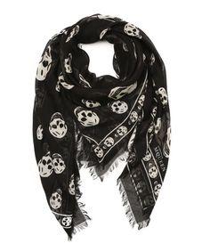 Alexander McQueen black and white silk blend skull patterned scarf   BLUEFLY up to 70% off designer brands
