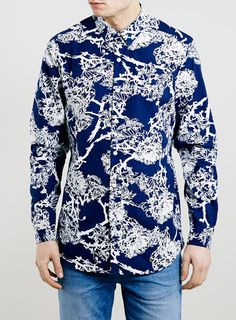 Navy Floral Long Sleeve Slim Smart Shirt | TOPMAN saved by #ShoppingIS